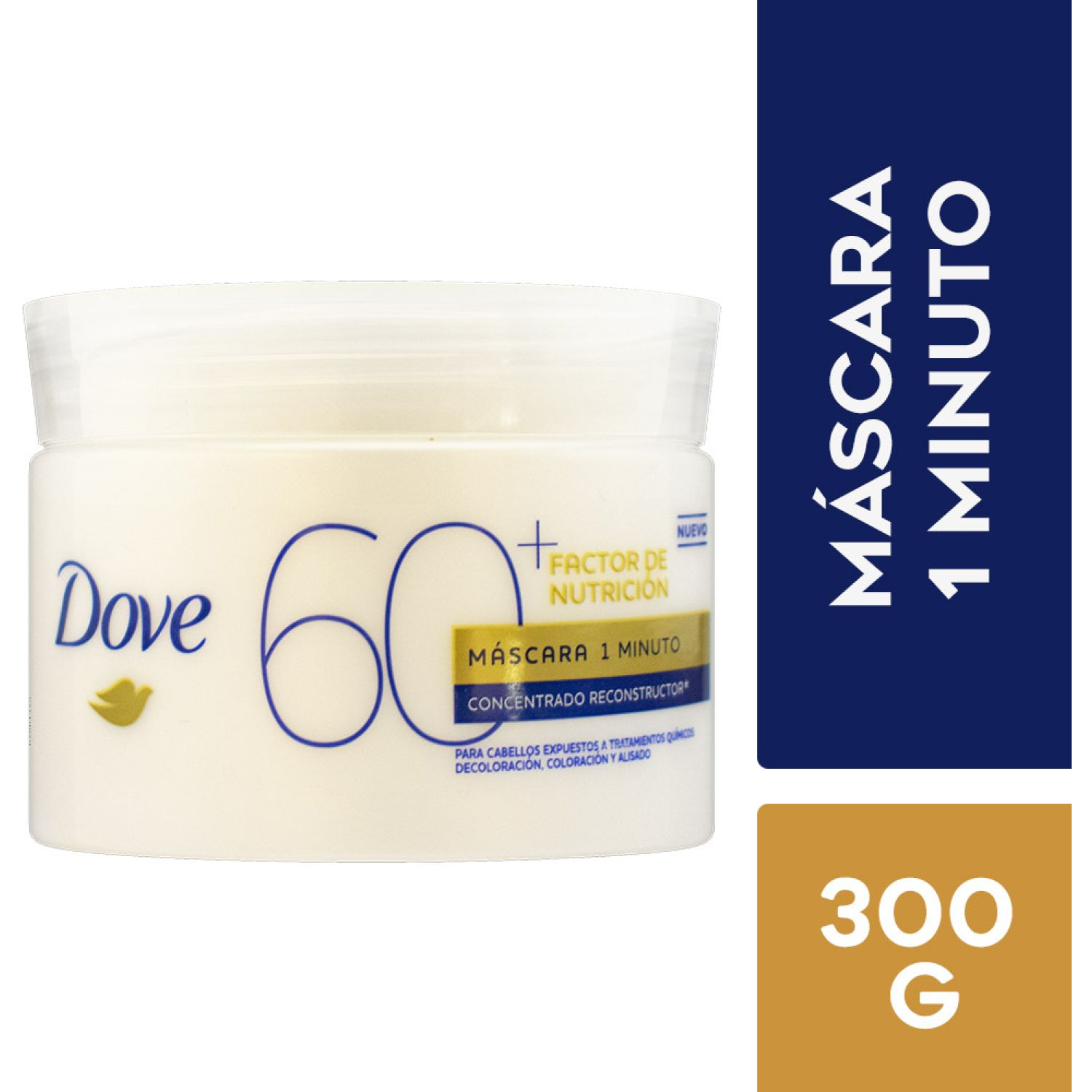 DOVE Mascarilla 1 Minuto Factor Nutrición60 + 300g Sin color Mascarillas