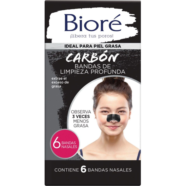 BIORE Bandas De Limp. Nasal Carbón Nat. 6und Negro Bandas para limpieza de poros