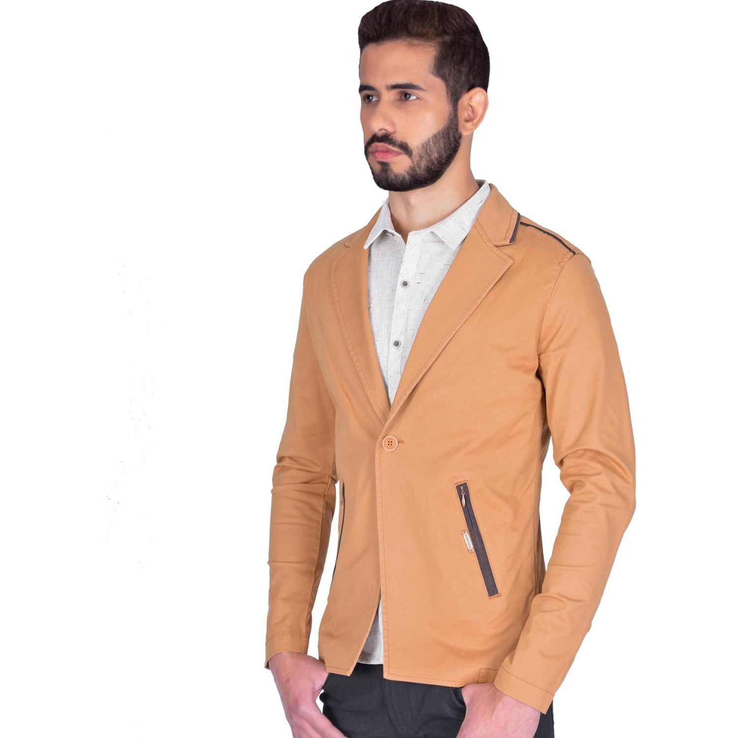 The Cult Blazer Drill, Slim Fit Camel Abrigos deportivos y blazers
