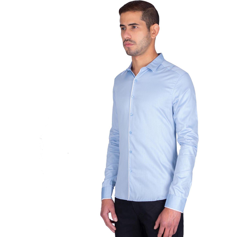 The Cult Camisa Manga Larga, Perfect Fit Celeste Camisas de botones