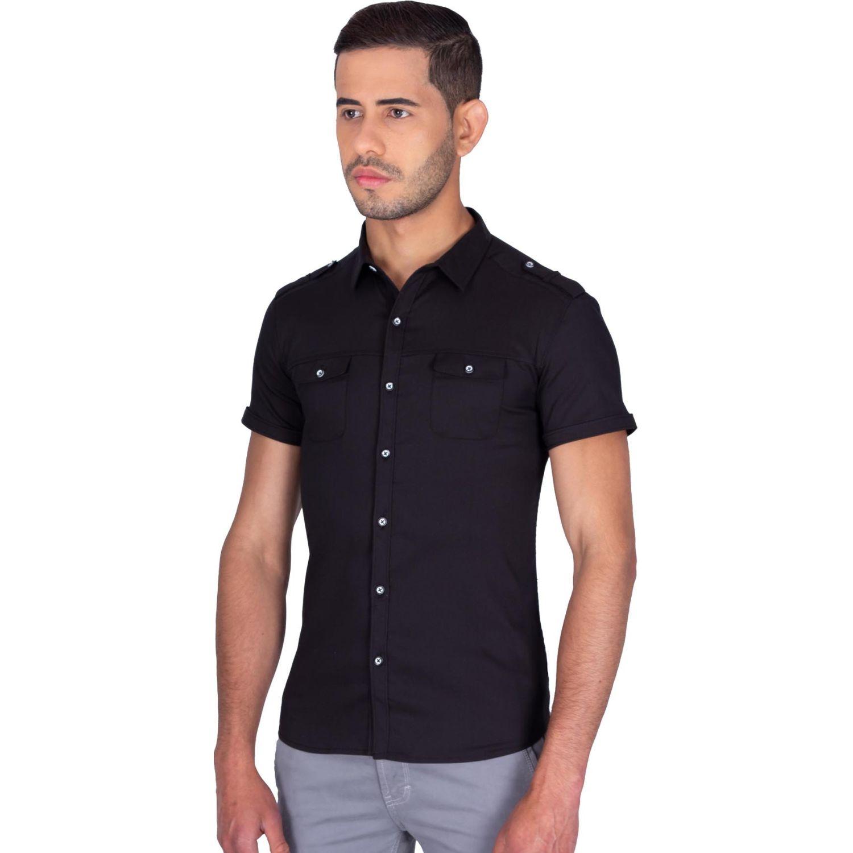 The Cult Camisa Manga Corta, Perfet Fit Negro Camisas de botones