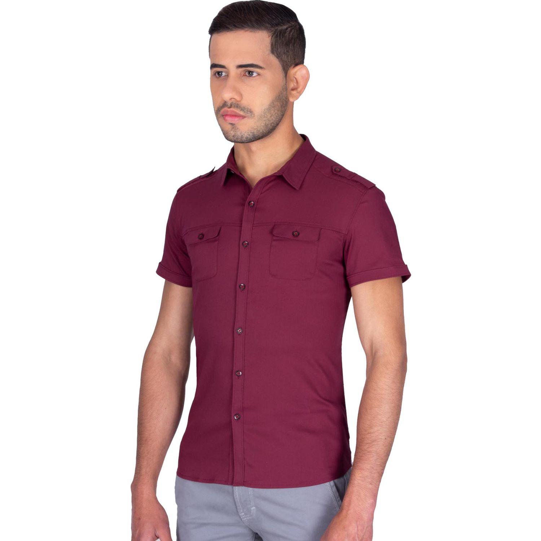 The Cult Camisa Manga Corta, Perfet Fit Vino Camisas de botones