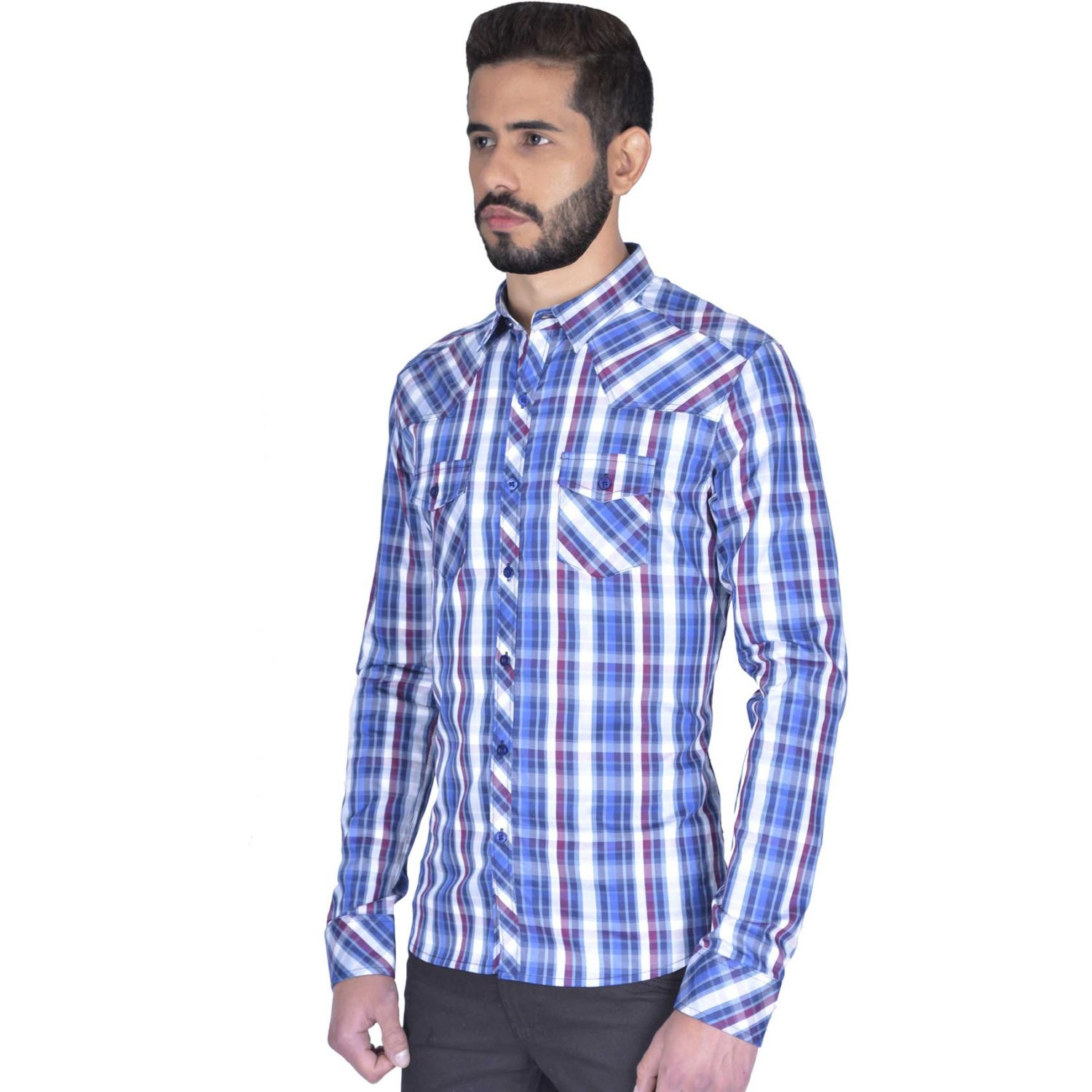 The Cult Camisa Manga Larga, Perfect Fit Azul Camisas de botones