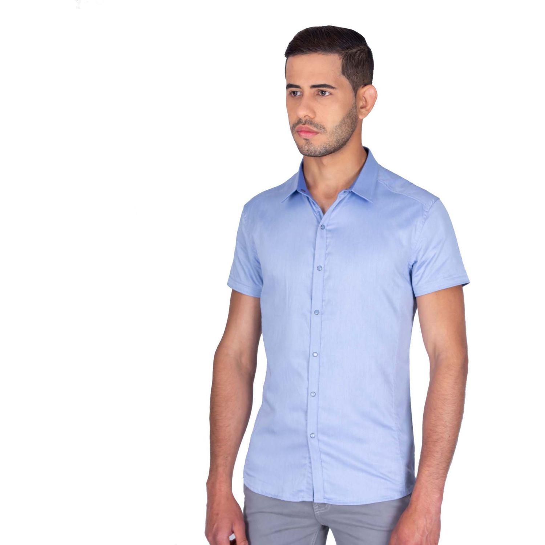The Cult Camisa Manga Corta, Perfet Fit Celeste Camisas de botones