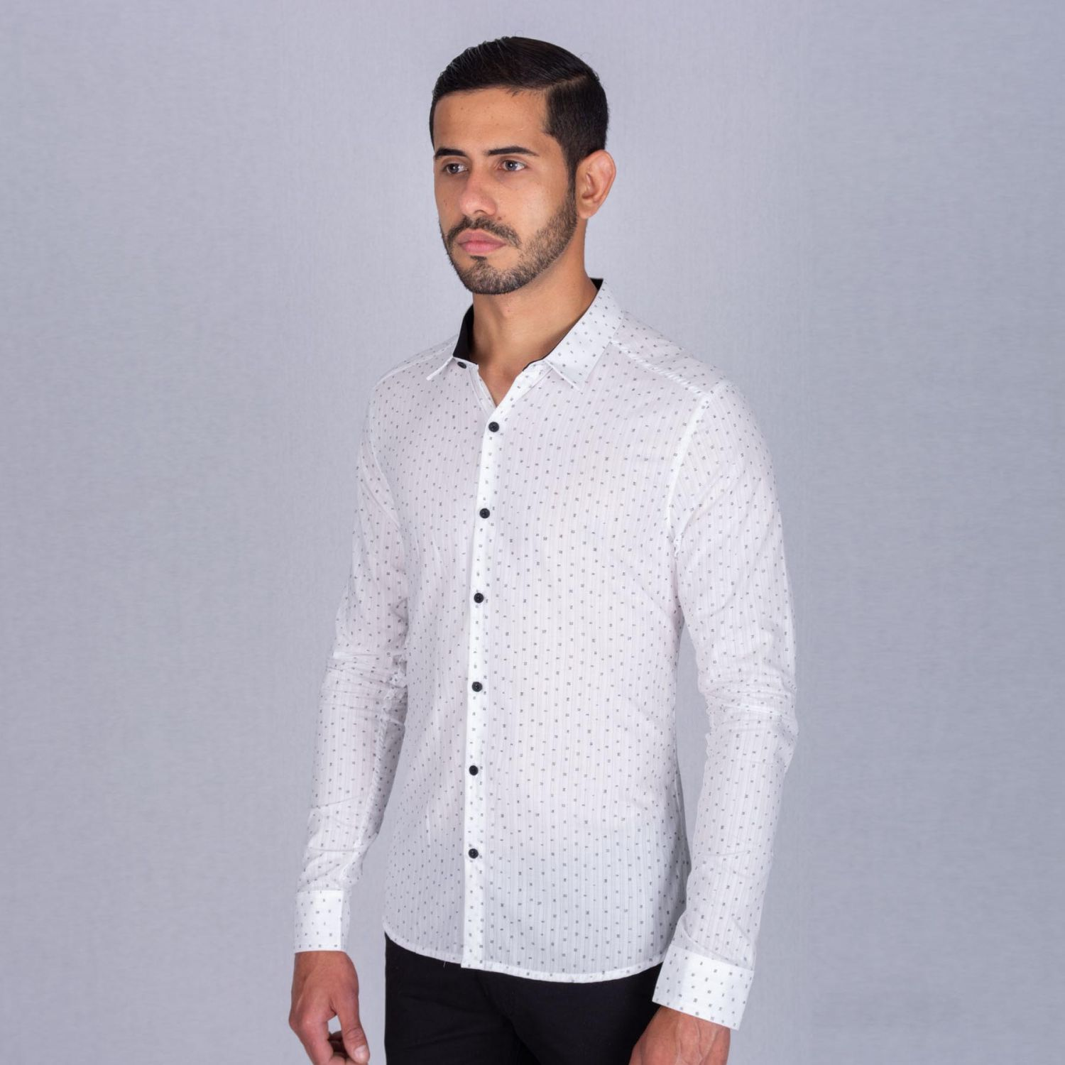 The Cult Camisa Manga Larga, Perfect Fit Blanco / negro Camisas de botones