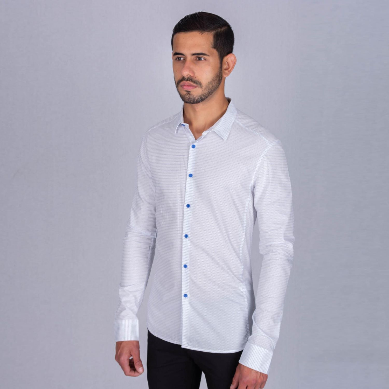 The Cult Camisa Manga Larga, Perfect Fit Blanco / celeste Camisas de botones