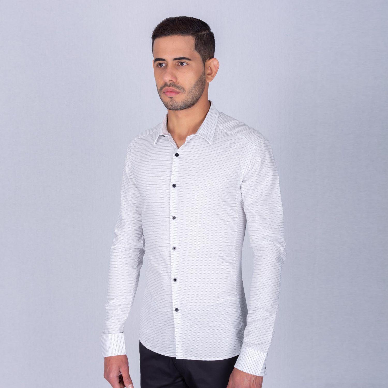 The Cult Camisa Manga Larga, Perfect Fit Blanco / negro Camisas de botones