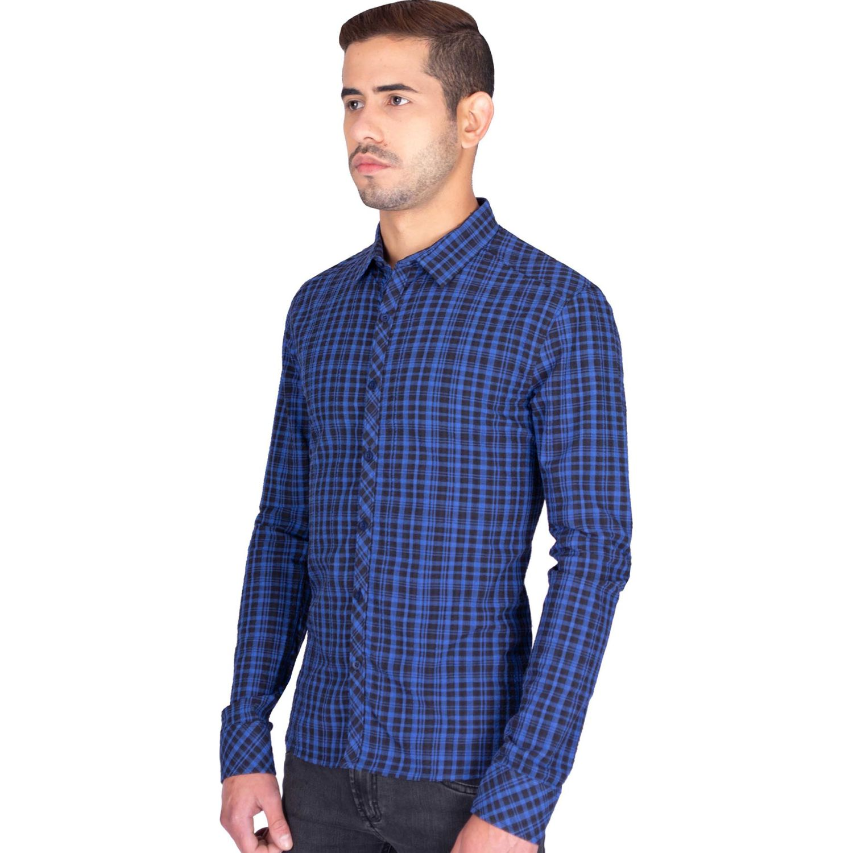 The Cult Camisa Manga Larga, Slim Fit, Negro / azul Camisas de botones