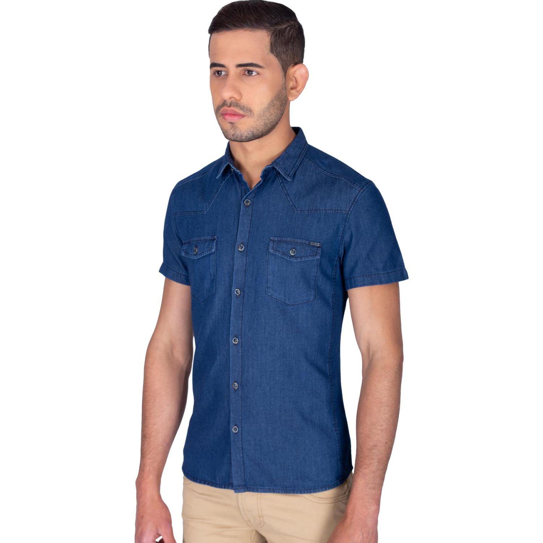The Cult Camisa Manga Corta, Perfet Fit Azul Camisas de botones