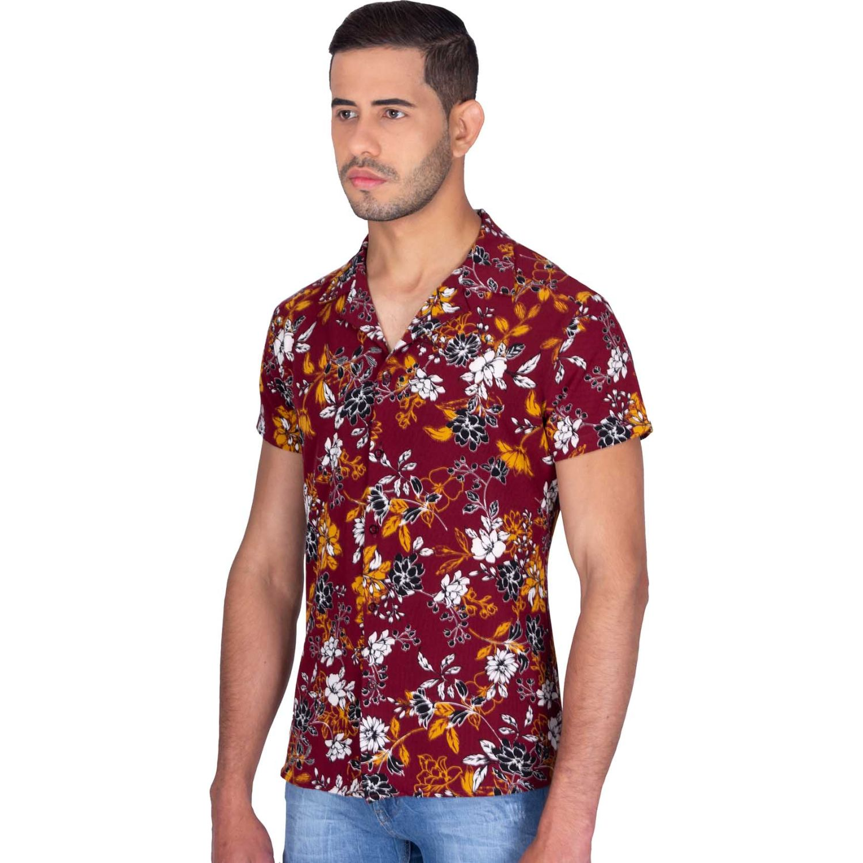 The Cult Camisa Manga Corta,Tejido Confort Vino Camisas de botones