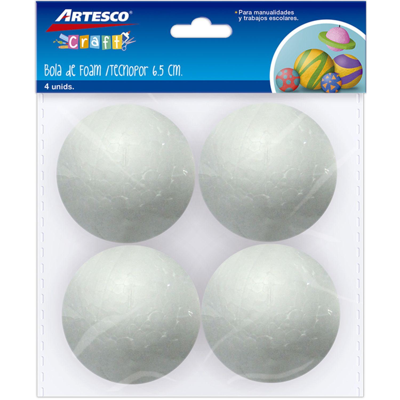 Artesco Bola De Tecnopor 6.5 Cm X 4 Und Varios Habilidades básicas