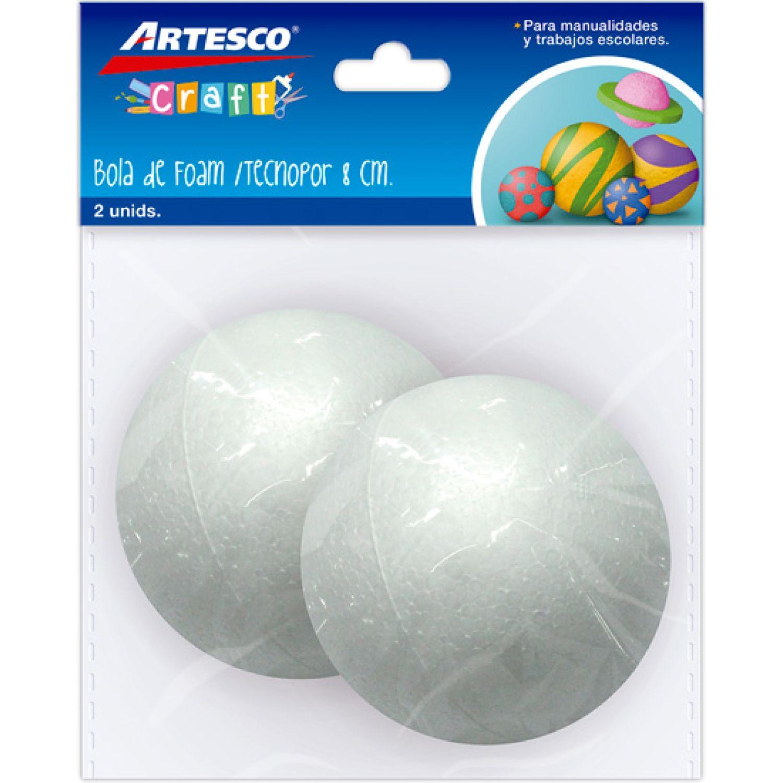 Artesco Bola De Tecnopor 8cm X 2 Und Varios Habilidades básicas
