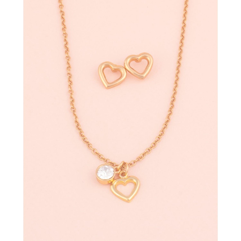 BE SIFRAH Collar Y Aretes Love Dorado Sets de joyería
