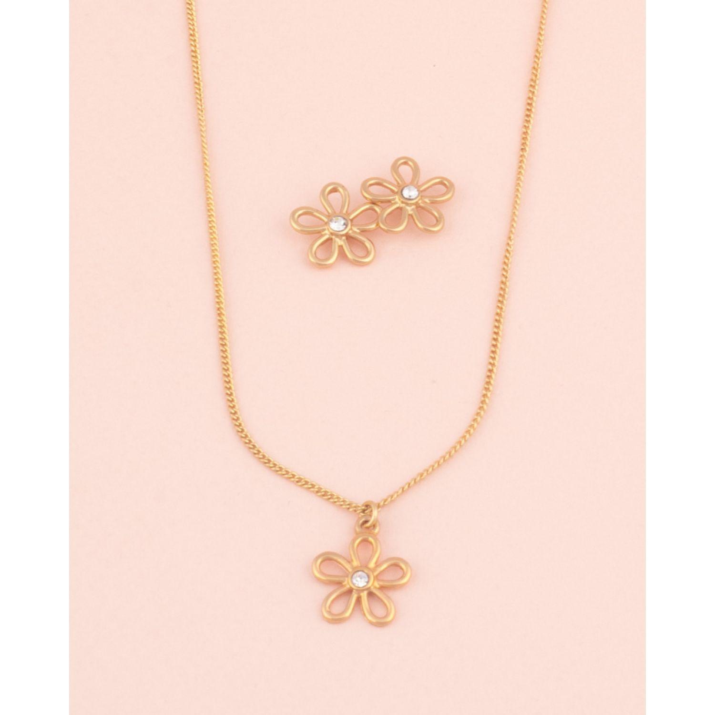 BE SIFRAH Collar Y Aretes Florece Dorado Sets de joyería