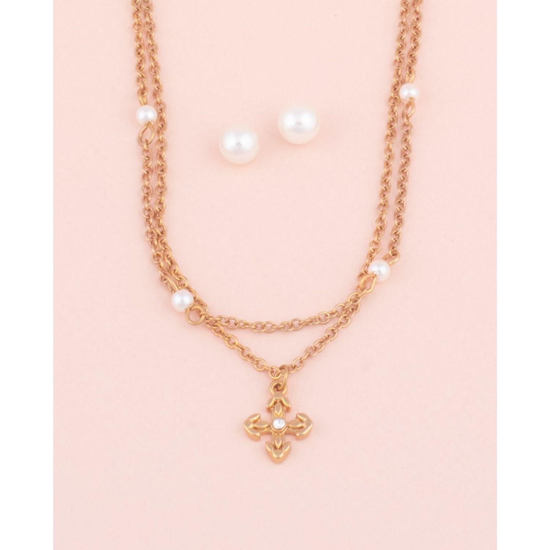 BE SIFRAH Collar Y Aretes Milagros Dorado Sets de joyería