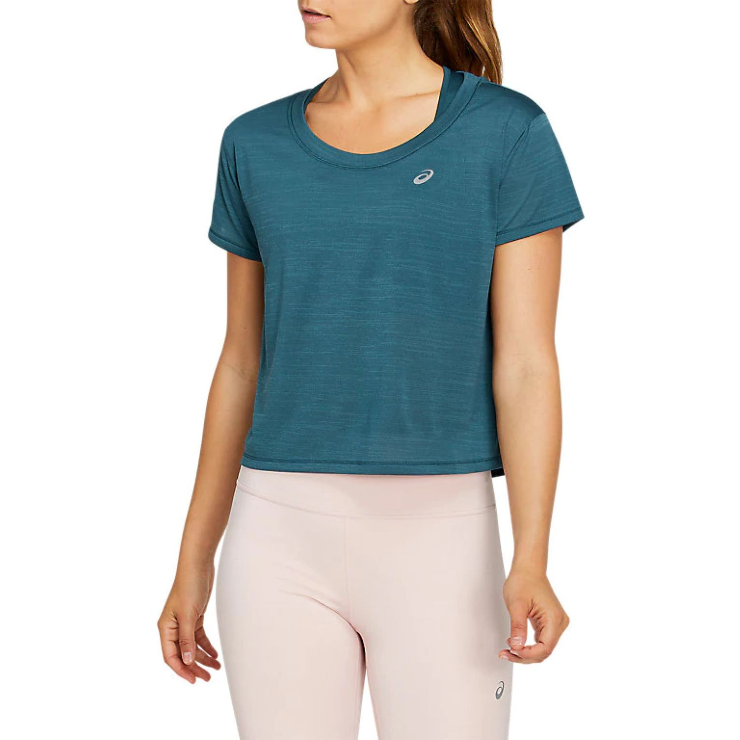 Asics W Race Crop Ss Top Magnetic Blue Verde Polos