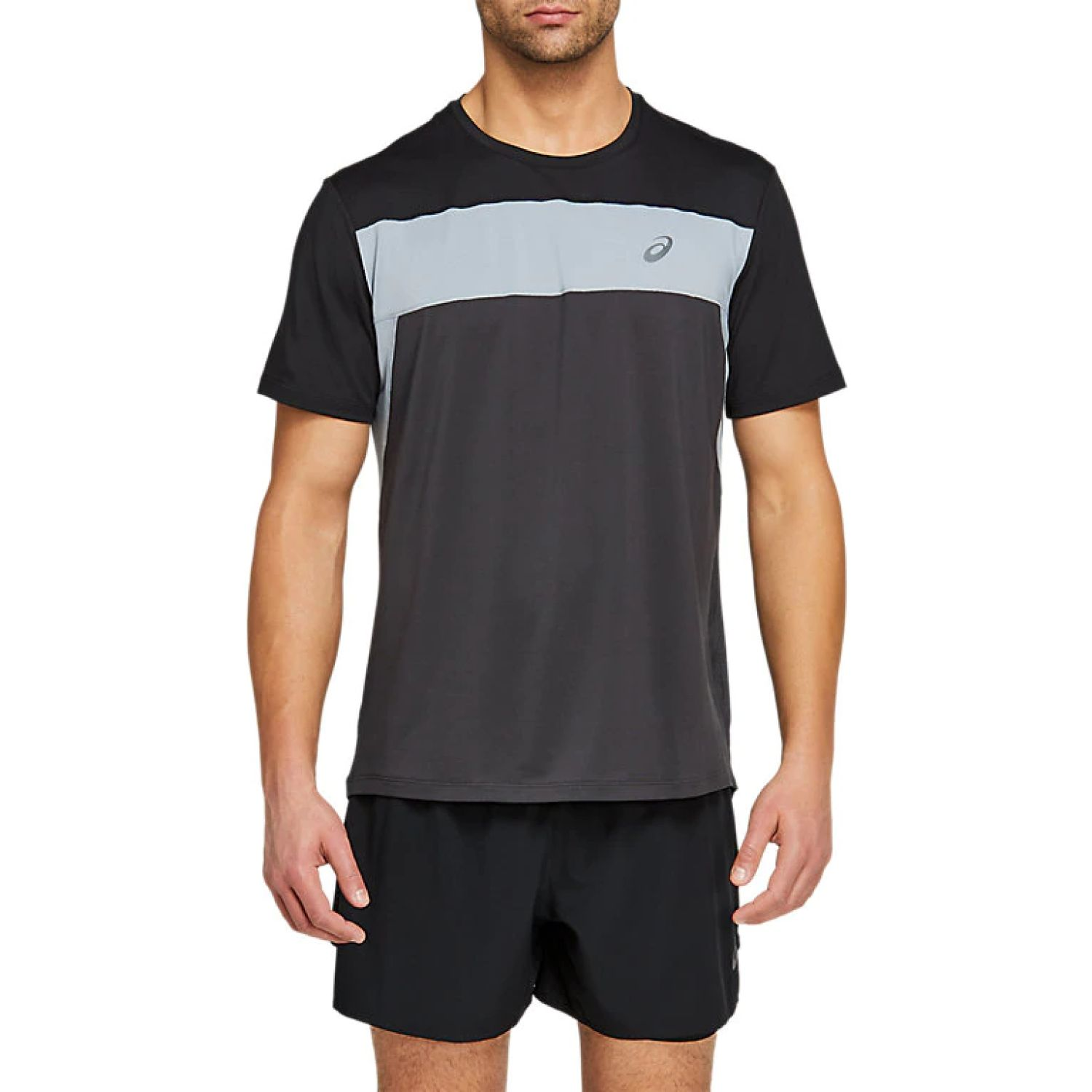 Asics M Race Ss Top Grphte Gry Perf Blk Negro Polos