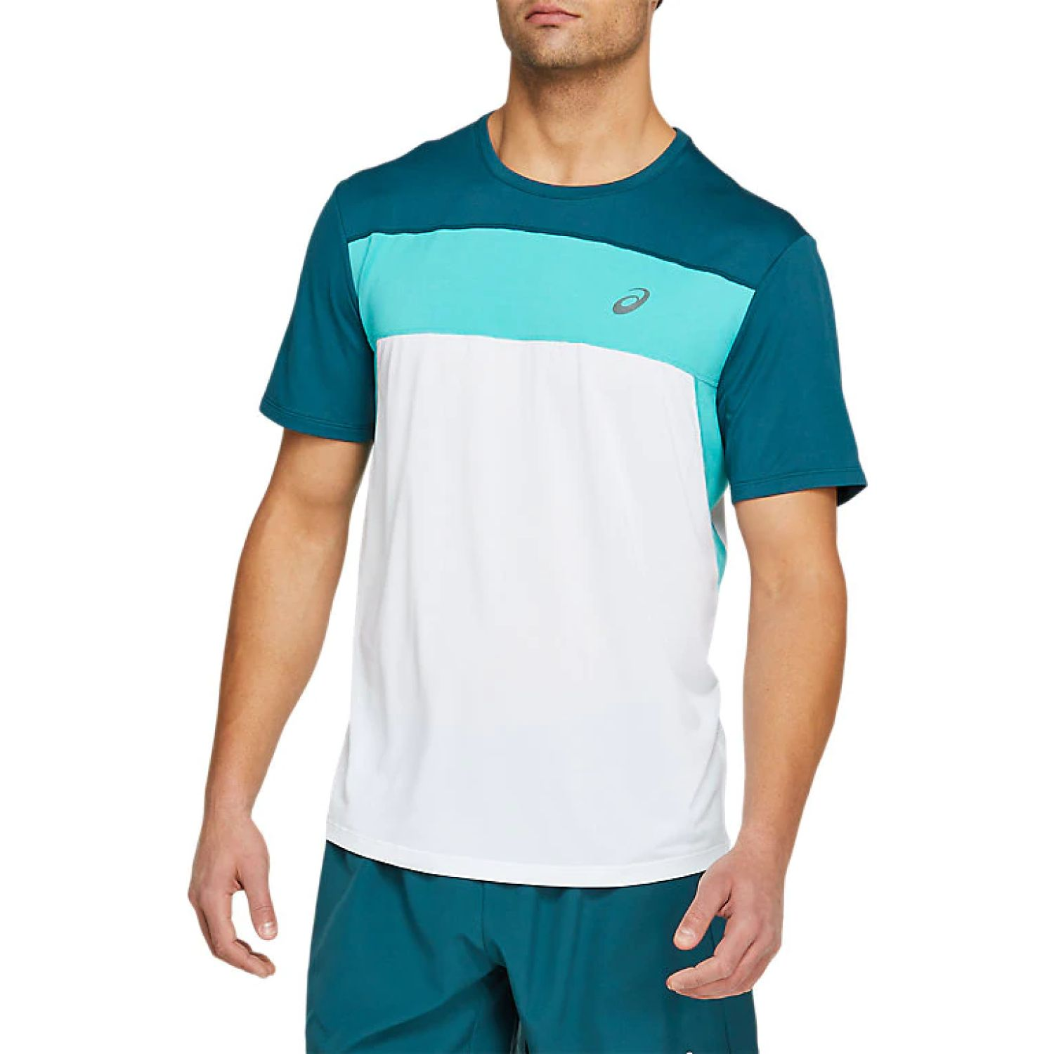 Asics M Race Ss Top Bril White Mag Blue Jade Polos