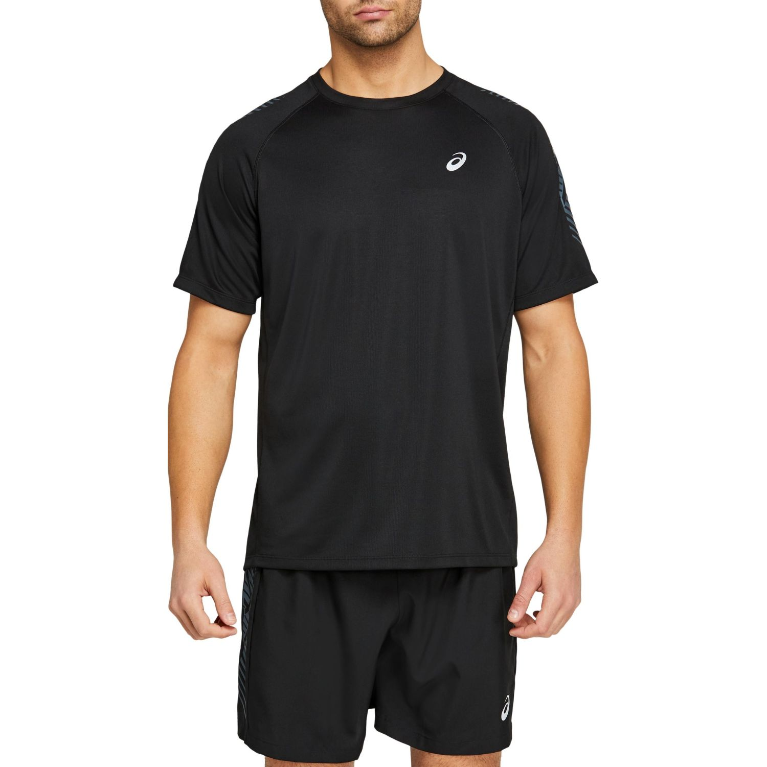 Asics M Icon Ss Top Perf Blk Carrier Gry Negro Camisetas y polos deportivos
