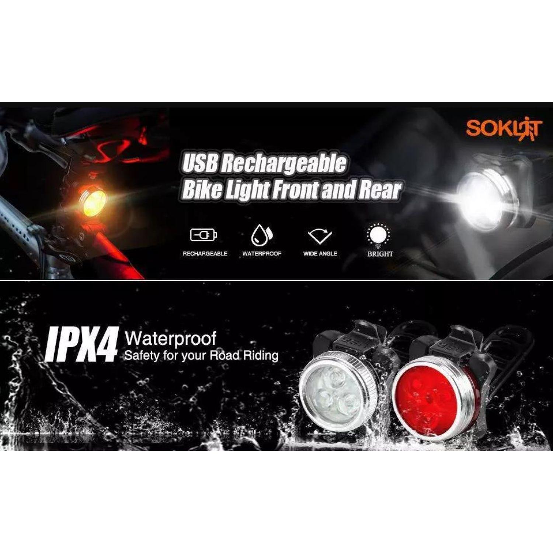 Platanitos Life Luces Para Bicicleta Recargable S012 Negro / rojo Reflectores