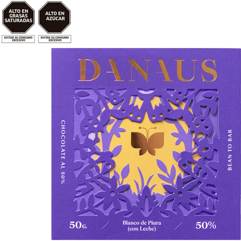 DANAUS Chocolate Con Leche 50% Cacao Blanco De Piura Chocolate Regalos de dulces y chocolate