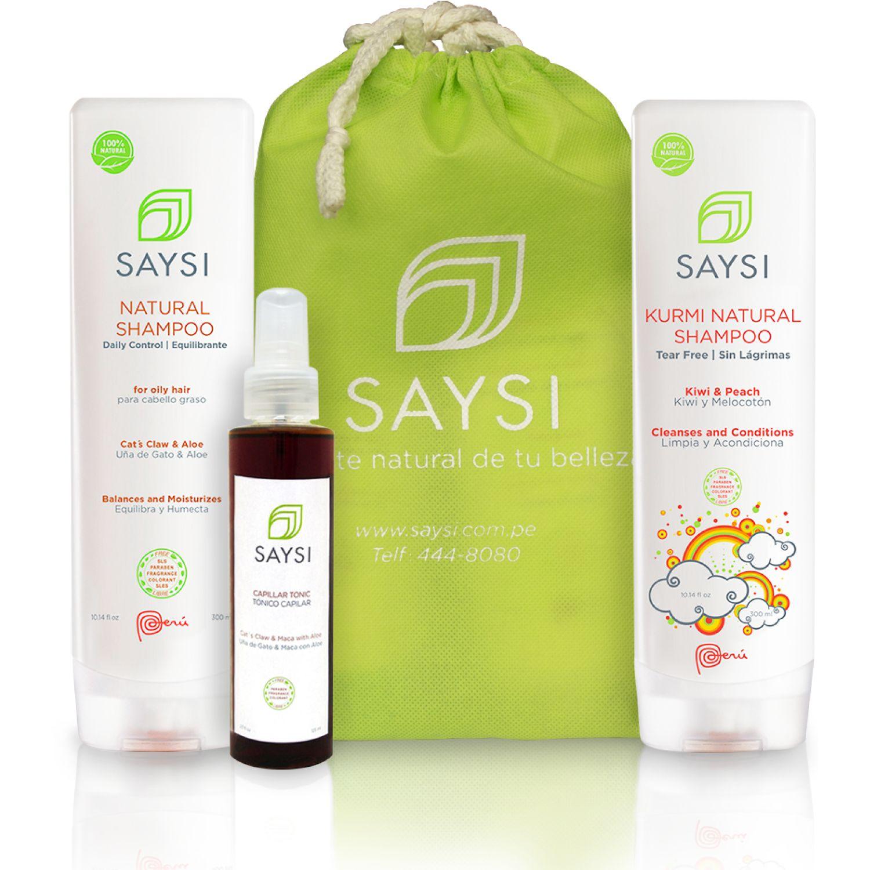 SAYSI Pack Saysi Shampoo Natural Equil. + Shampoo Natural Sin Lágrimas Kurmi +  + Tónico Capilar Varios Kits de shampoo y acondicionador