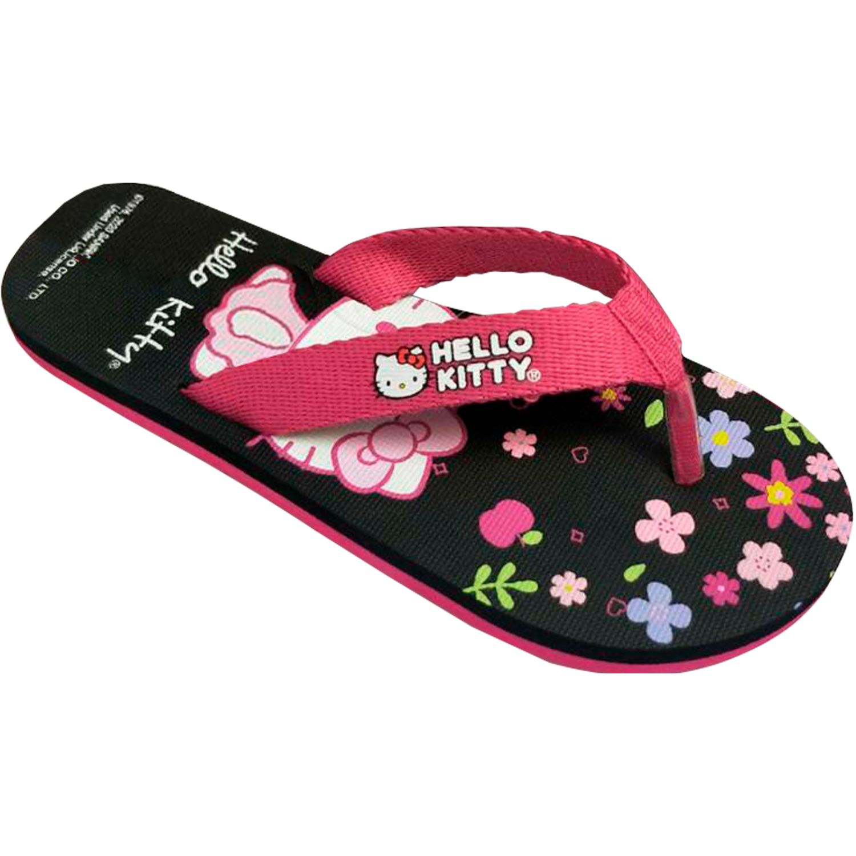 Hello Kitty Sandalia Playera Flores Negro Negro Chancletas y playeras