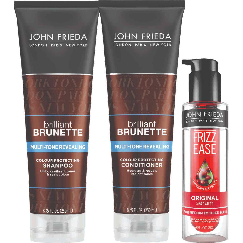 JOHN FRIEDA Tripack Brilliant Brunette + Suero Marron Shampoo de diario