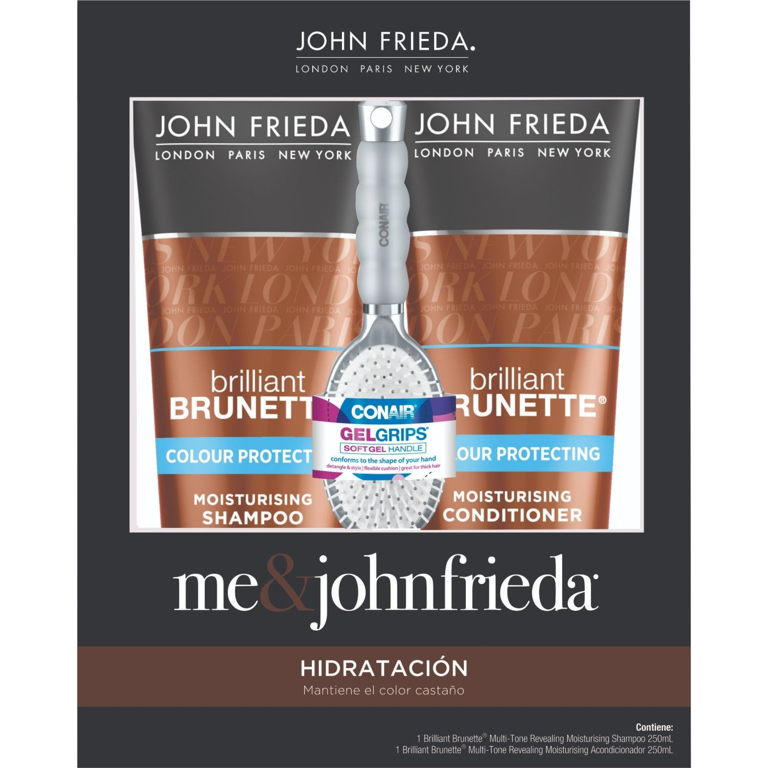 JOHN FRIEDA Pack Brilliant Brunette + Cepillo Marron Shampoo de diario