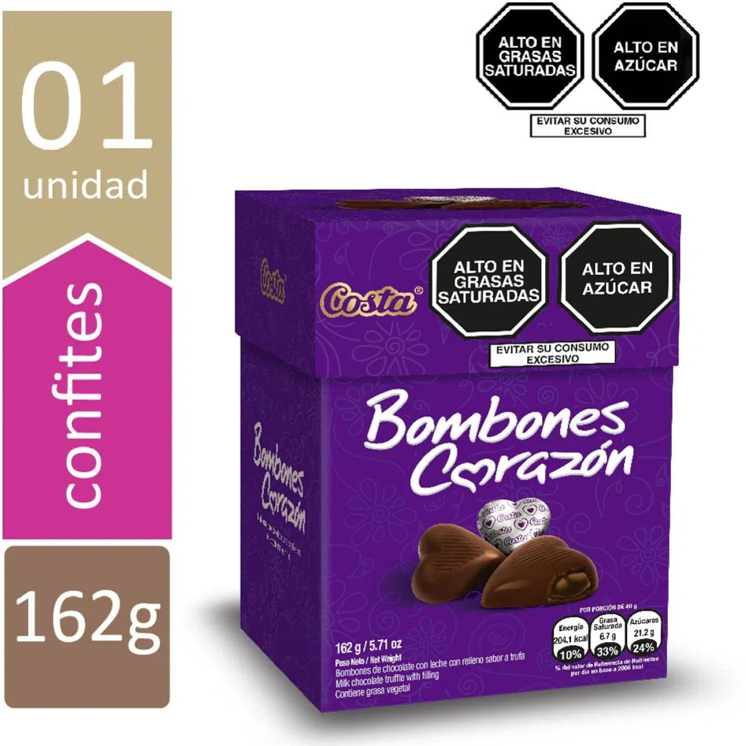 COSTA Costa Bombon Corazon Display 162 G. Varios Surtidos de dulces y chocolate