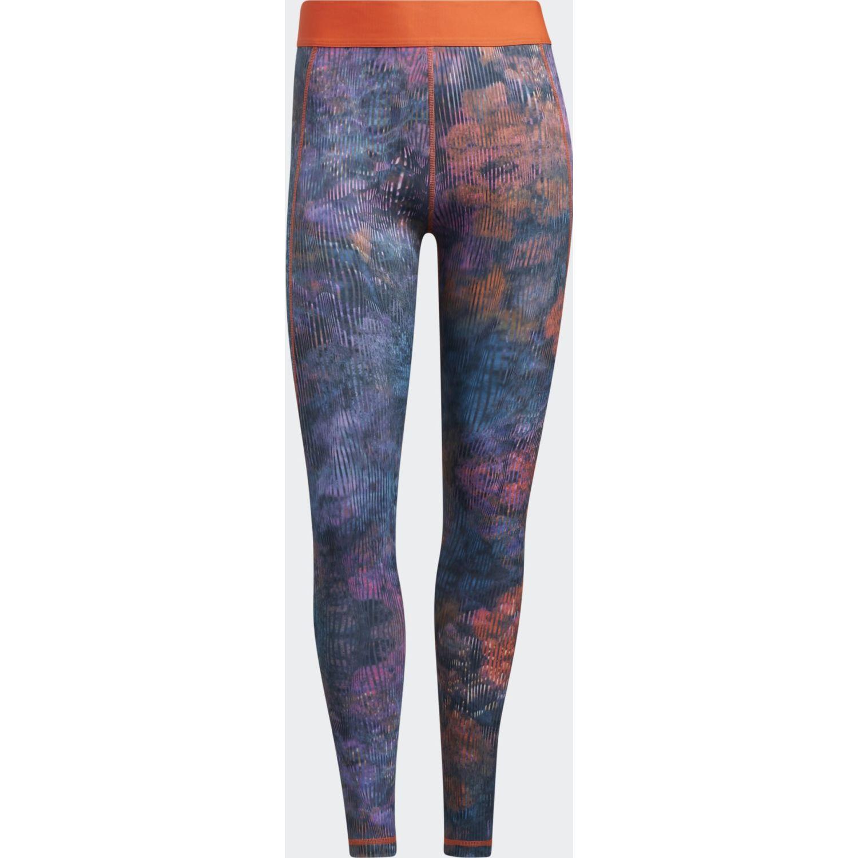adidas Tf Floral L T Celeste / naranja Leggings deportivos