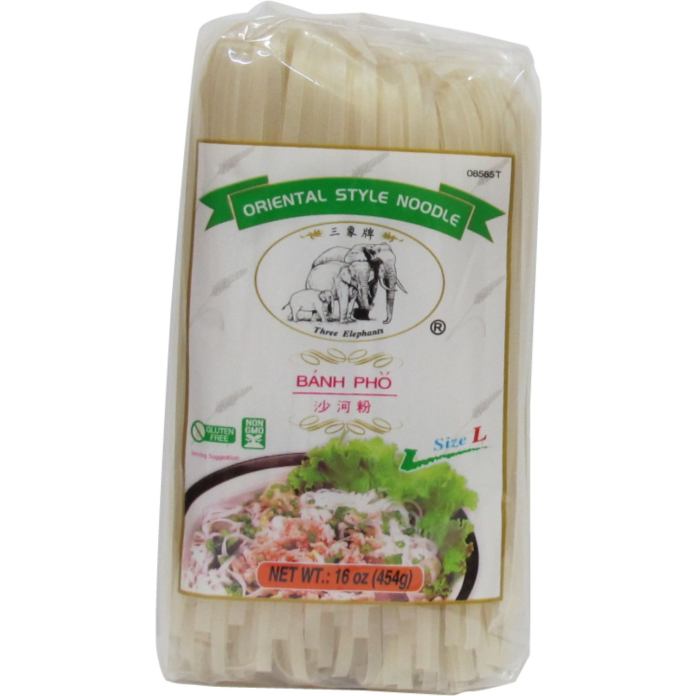 THREE ELEPHANTS Fideo De Arroz (L) 1lb Paq 0 Fideos de arroz
