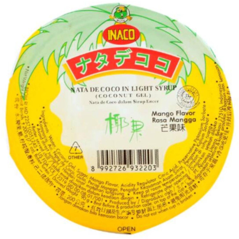 INACO Nata De Coco Sabor Mango 200g Pot SIN COLOR Agua de coco