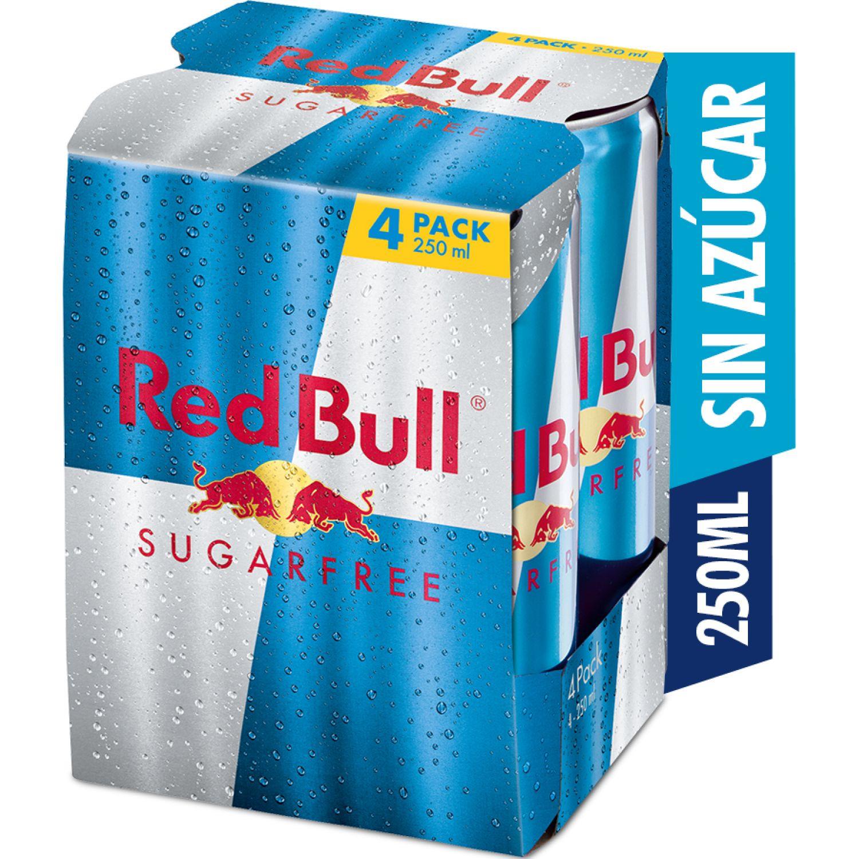 RED BULL ENERGY DRINK SUGAR FREE 250ML 4PACK SIN COLOR Bebidas energizantes