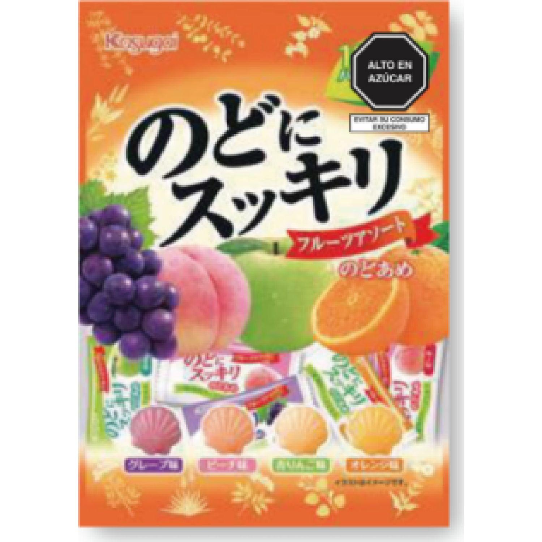KASUGAI Nodo Ni Sukkiri Fruits Assort 4.16 Oz (112g) SIN COLOR Caramelo duro