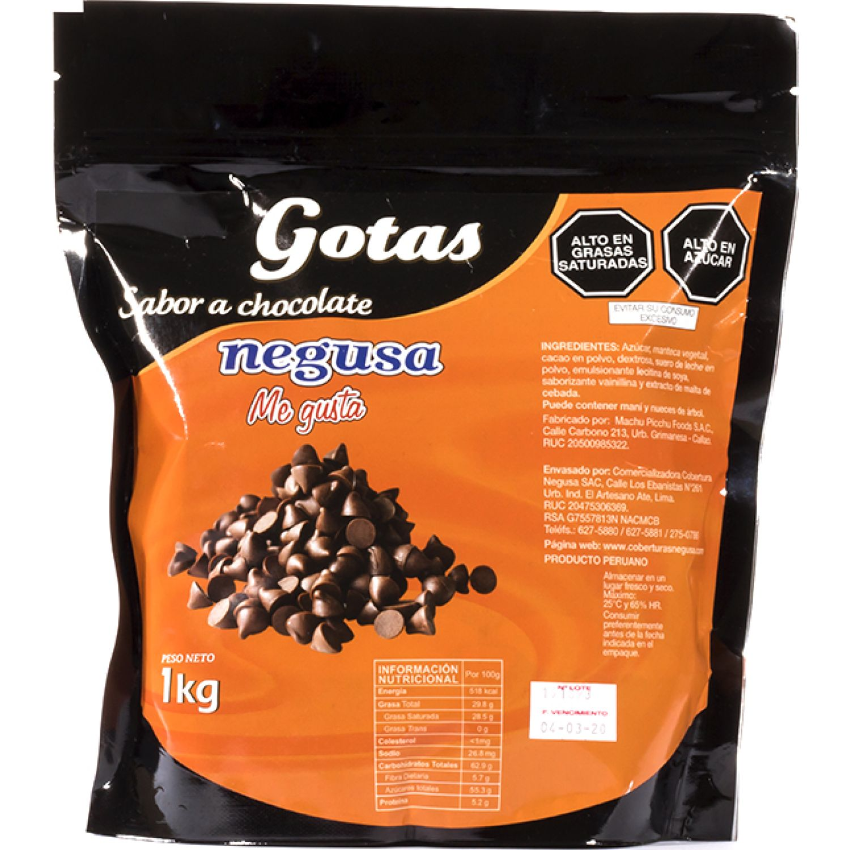 NEGUSA 1Kg GOTAS SABOR A CHOCOLATE MARRON OSCURO chocolates