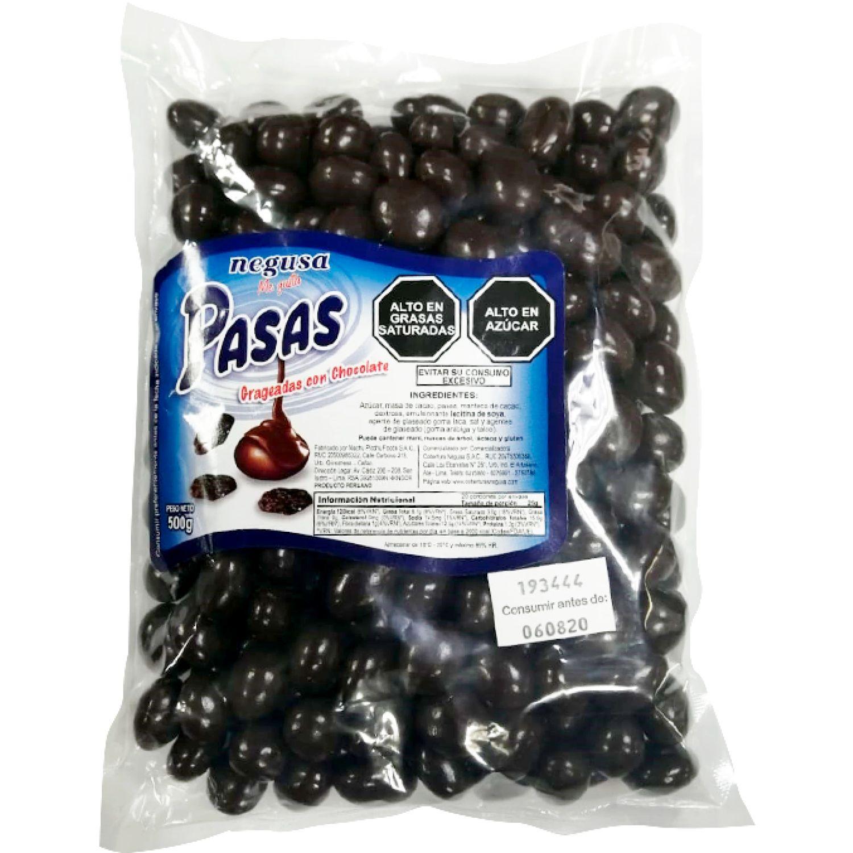 NEGUSA 500Gr PASAS GRAGEADO CON  CHOCOLATE MARRON OSCURO chocolates