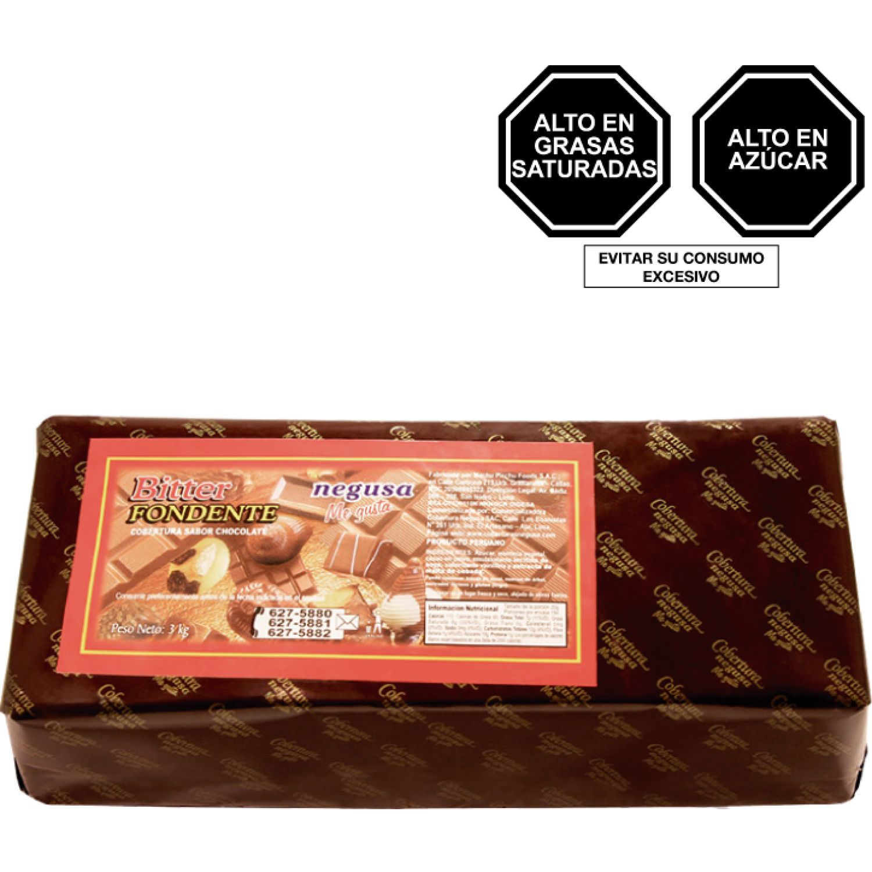 NEGUSA 3KG COBERTURA BITTER TIPO FONDENTE MARRON OSCURO chocolates