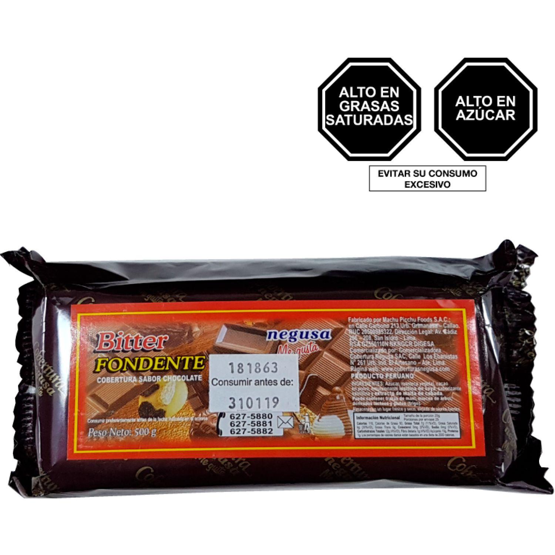 NEGUSA 1/2Kg COBERTURA BITTER TIPO FONDENTE MARRON OSCURO chocolates