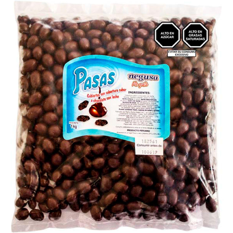 NEGUSA 1Kg PASAS C/COBERTURA CHOCOLATEC/LECHE MARRON OSCURO chocolates