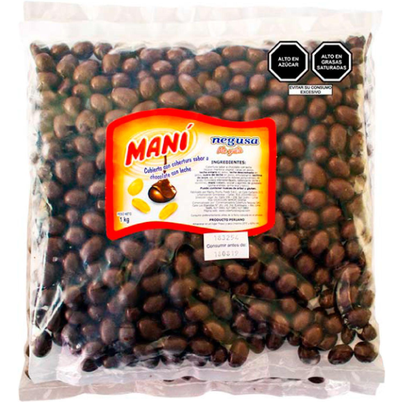 NEGUSA 1Kg MANÍ CON COB. CHOCOLATE C/LECHE MARRON OSCURO Maní