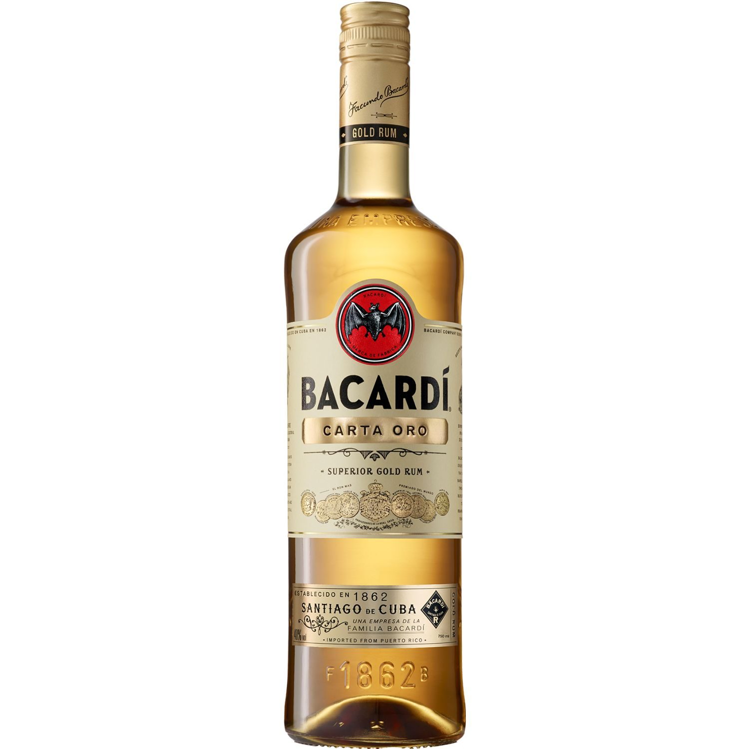 BACARDI RON CARTA ORO X 750ML SIN COLOR Ron