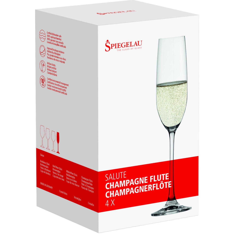 SPIEGELAU SALUTE SET X4 COPA DE CRISTAL CHAMPAGNE TRANSPARENTE copas de champán