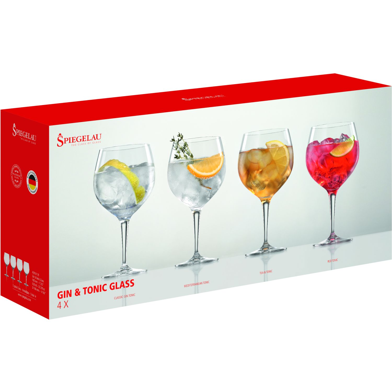 SPIEGELAU Gin & Tonic Set X4 Copa De Cristal De Gin TRANSPARENTE Copas para cordial