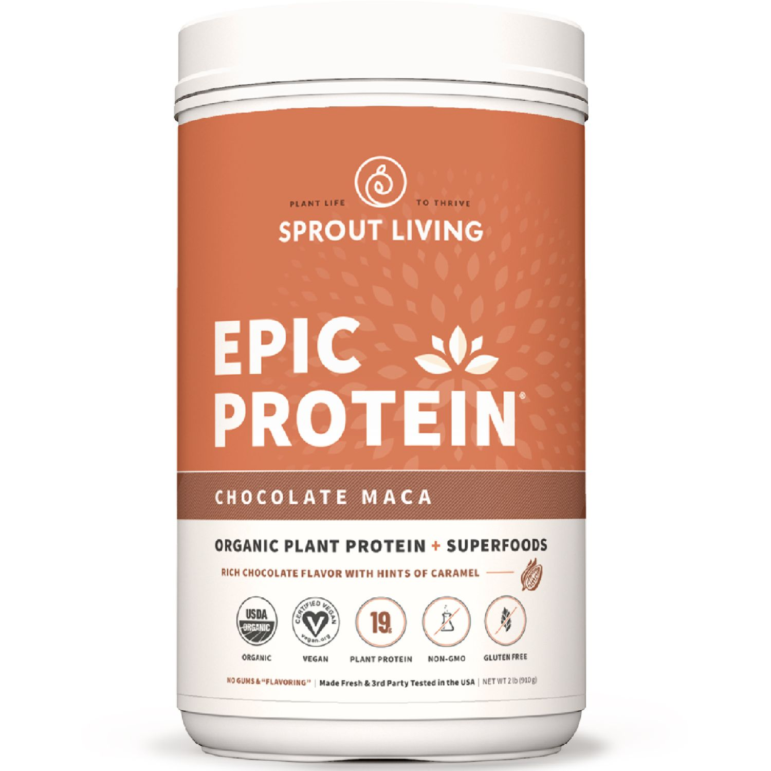 Sprout Living Proteína Vegana Epic Protein Chocolate Maca 2lb SIN COLOR Mezclas