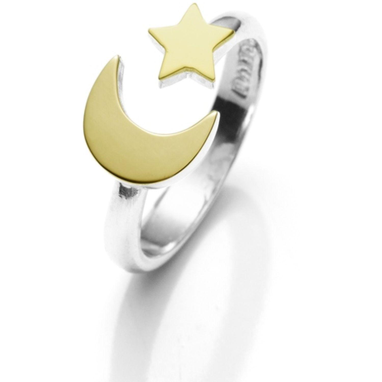 BALIQ Anillo Luna Estrella Plata Con Oro PLATA / ORO Stacking