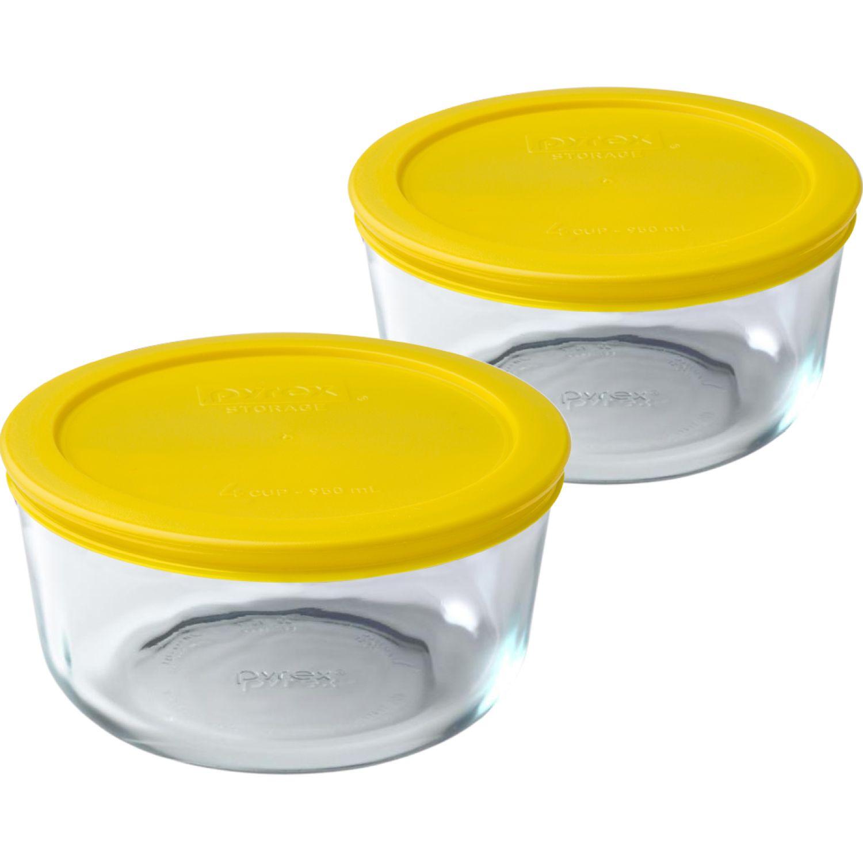 PYREX Pack De 2 Bolos Redondos Tapa Plastica De 4 Tazas - 950 Ml AMARILLO Juegos de almacenamiento y organización de cocina