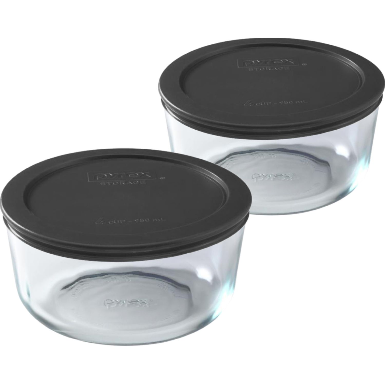 PYREX Pack De 2 Bolos Redondos Tapa Plastica De 4 Tazas - 950 Ml NEGRO Juegos de Almacenamiento y Organización de Cocina