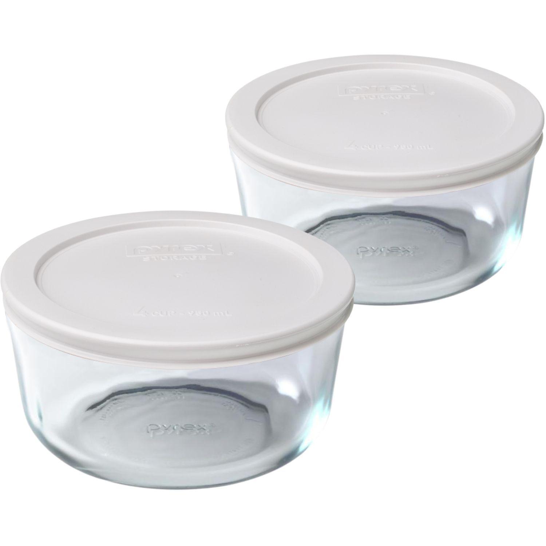 PYREX Pack De 2 Bolos Redondos Tapa Plastica De 4 Tazas - 950 Ml BLANCO Juegos de Almacenamiento y Organización de Cocina