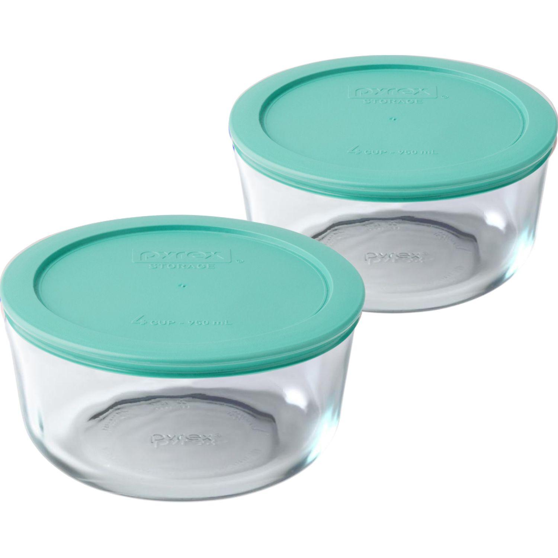 PYREX PACK DE 2 BOLOS REDONDOS TAPA PLASTICA DE 4 TAZAS - 950 ML TURQUESA Conjuntos de alimentos Almacenamiento y organización